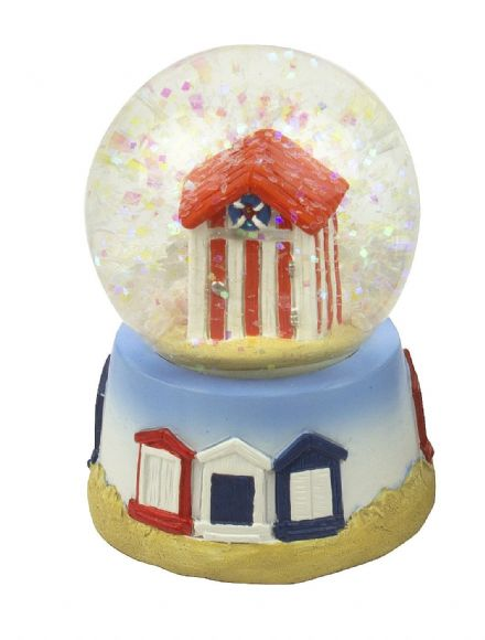 Beach House Nautical Small Snow Globe Waterball - Red